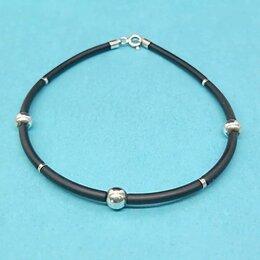 Браслеты - Женский каучуковый браслет с серебром - арт…, 0