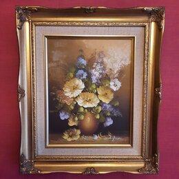 Картины, постеры, гобелены, панно - Картина в раме, цветочный натюрморт, масло, 0