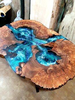 Столы и столики - Журнальный столик река из массива карагача, 0