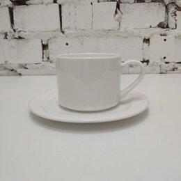 Кружки, блюдца и пары - кружка белая кофейная с блюдцем БЕЗ ЛОЖКИ, 0