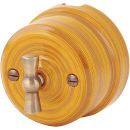 Товары для электромонтажа - Выключатель проходной 1-кл Lindas, бамбук, 0