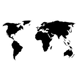 Картины, постеры, гобелены, панно - Деревянная карта мира 80х40 см (Черная), 0