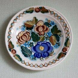 Посуда - Большая декоративная тарелка с цветами из СССР, 0