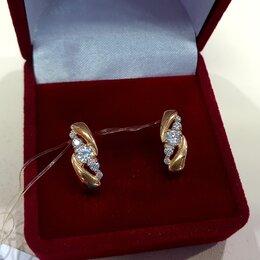 Серьги - Новые золотые серьги с фианитами , 0