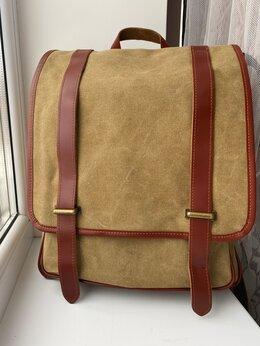 Портфели - Портфель рюкзак с кожаными элементами, 0