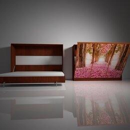 Кровати - Подъемная двуспальная кровать в шкафу 160х200. Взрослая с фотопечатью Ф-8, 0