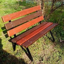 Скамейки - Садовые скамейки из дерева со спинкой для дачи на металлокаркасе, 0