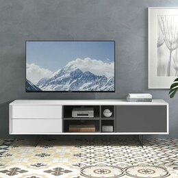 Тумбы - Тумба под телевизор с 2 дверцами серый лак ESF, 0