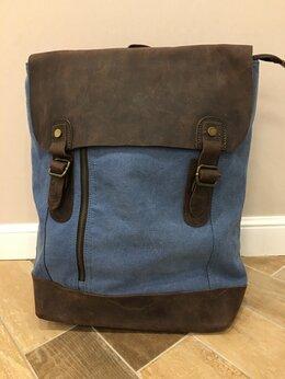 Рюкзаки - Рюкзак холщовый голубой новый, 0