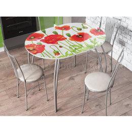 Столы и столики - Стол кухонный овальный с фотопечатью, 0