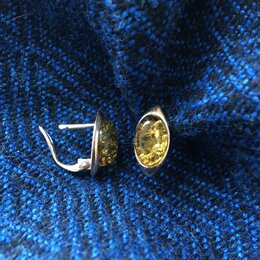 Комплекты - Серебряные сережки и подвеска/кулон с янтарем, 0