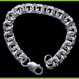 Браслеты - БИСМАРК браслет 20*1см серебро 925 34,5гр. карабин, 0