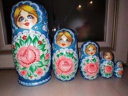 Подарочные наборы - Матрешки голубые с розовым цветком. Набор из 5 шт, 0