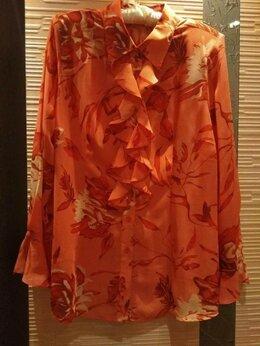 Блузки и кофточки - Коралловая блузка из шифона, 52-54, 0
