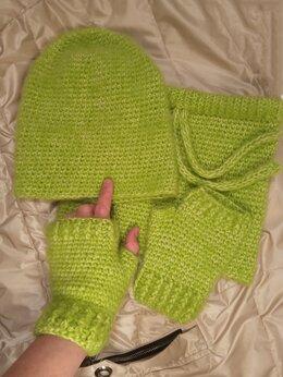 Перчатки и варежки - Митенки вязаные хлопок/меринос, 0