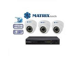 Камеры видеонаблюдения - Комплект видеонаблюдения matrix на 3камеры 5Mxp, 0
