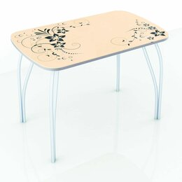 Столы и столики - Стол обеденный со стеклом Лотос (Фотопечать), 0