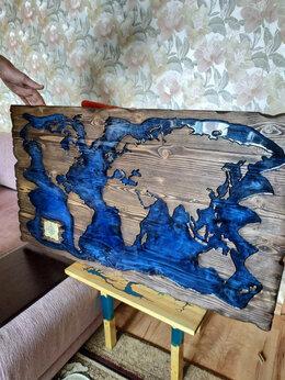 Гравюры, литографии, карты - Карта мира из дерева, 0