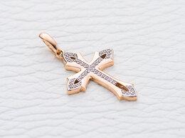 Иконы - Крест с 39 фианитами из красного золота, 0