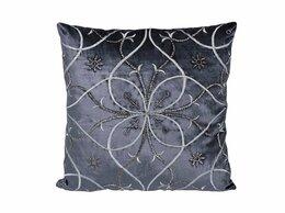 Подушки - Декоративная подушка 45х45 см с вышивкой синяя…, 0