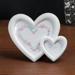 Фоторамки - Рамка для фото 2 сердца, пластик, 0