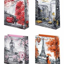 Подарочная упаковка - Пакет подарочный Города 33х45 см, 1 шт, 0