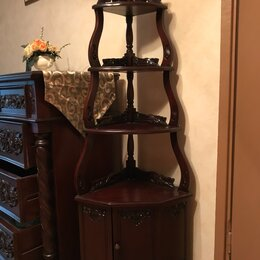 Стеллажи и этажерки - Этажерка угловая,массив, резьба (Индонезия), 0