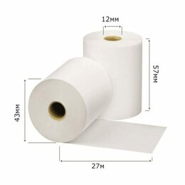 Бумага и пленка - Чековая лента  57*43мм 27м  12*13 (156шт) термолента, 0