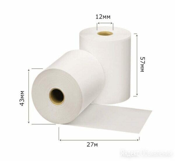 Чековая лента  57*43мм 27м  12*13 (156шт) термолента по цене 13₽ - Бумага и пленка, фото 0