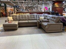 Диваны и кушетки - Кожаный диван Марти с баром и реклайнером, 0
