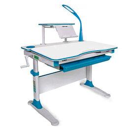 Компьютерные и письменные столы - Парта Mealux EVO Diego белая, голубые накладки, 0