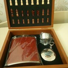 Подарочные наборы - Набор шахмат с флягой 230мл стопкой и воронкой, 0