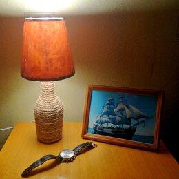 Настольные лампы и светильники - Лампа настольная джутовая (новая), 0