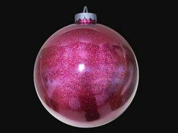 Новогодний декор и аксессуары - Елочный шар 35 см с глиттером, розовый, 0