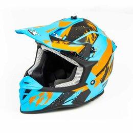 Мотоэкипировка - Шлем мото кроссовый GTX 633 (M) #2 BLUE/ORANGE BLACK, 0