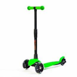 Самокаты - Детский трехколесный самокат АЛЬФА салатовый, светящиеся колёса, 0