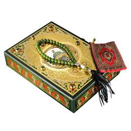 Литература на иностранных языках - Коран подарочный на арабском языке с нефритовыми четками, 0