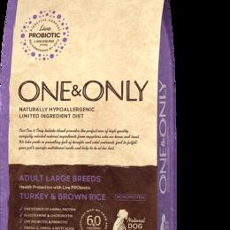 Корма  - Корм для взрослых собак крупных пород ONE ONLY Индейка с рисом 12 кг., 0