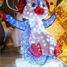 Новогодний декор и аксессуары - Световая фигура Пингвин на льдине - светодиодный, 0