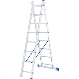 Лестницы и элементы лестниц - Лестница, 2 х 8 ступеней, алюминиевая, двухсекционная Сибртех, 0