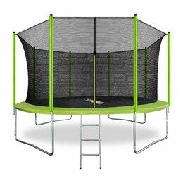 Каркасные батуты - ARLAND Батут 14FT с внешней страховочной сеткой и лестницей (светло-зеленый), 0