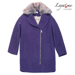 Пальто и плащи - Пальто детское фиолетовое со съемным меховым…, 0