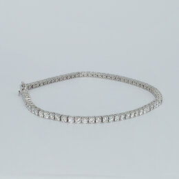 Браслеты - Теннисный браслет из белого золота с бриллиантами, 0