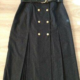 Юбки - Шерстяная черная юбка, 0
