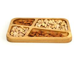 Тарелки - Менажница деревянная прямоугольная 4 секции, 0