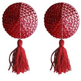 Средства для интимной гигиены - Красные круглые пестисы Nipple Tassels Round, 0