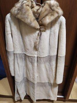 Шубы - Шуба белый бобер с капюшоном на капюшоне норка.…, 0