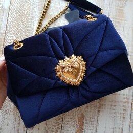 Сумки - Сумка Dolce Gabbana синяя текстиль женская новая, 0
