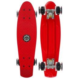 Скейтборды и лонгборды - Пениборд 56x15 см, колёса световые PU 60х45 мм, алюминиевая рама, цвет красный, 0
