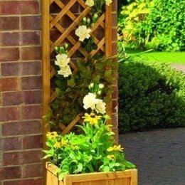 Горшки, подставки для цветов - Кашпо деревянное с опорой для вьющихся растений, 0